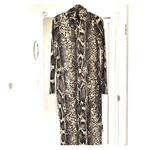 Snakeskin print long sleeve turtleneck dress
